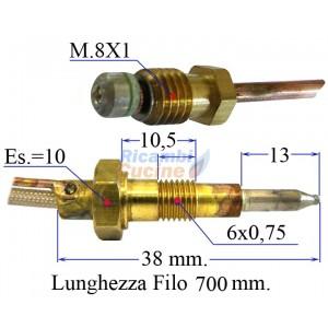 termocoppia per piano cottura valvolato varie marche 700 mm