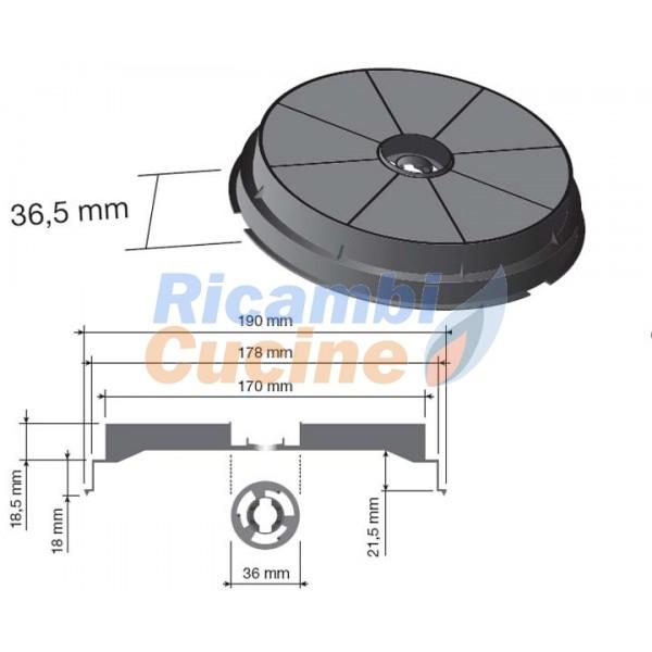 Filtro circolare per cappa aspirante turbo air ricambi - Filtro per cappa cucina ...